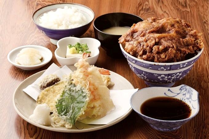 新橋「天ぷら定食とかき揚げ丼(大)」