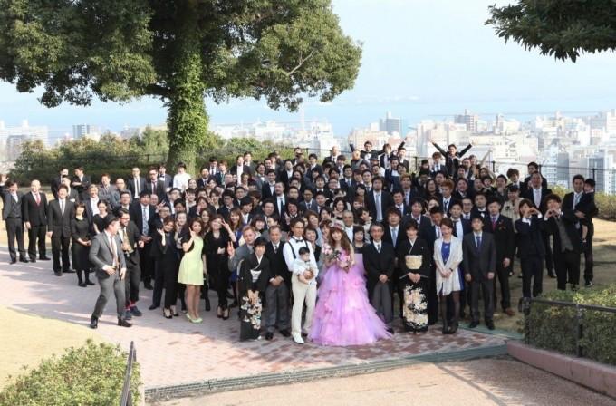 桜島の見えるガーデンで全員集合
