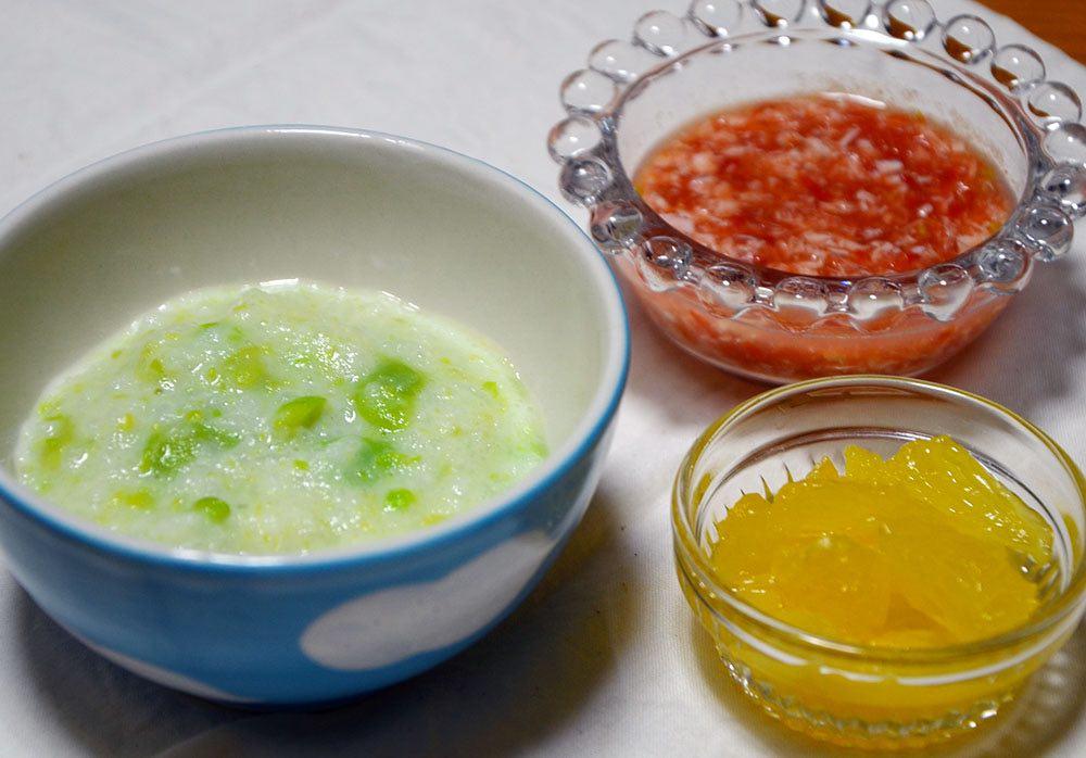 離乳食の空豆の豆乳リゾット、白身魚のトマト煮