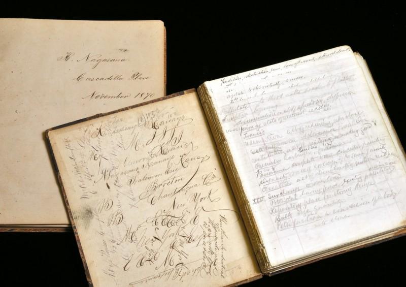 留学後米国に渡り、ワイン醸造で成功した長沢鼎(かなえ)の日記帳など貴重な資料を展示