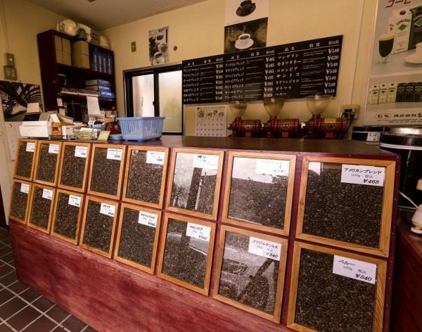 自家焙煎豆の販売コーナー