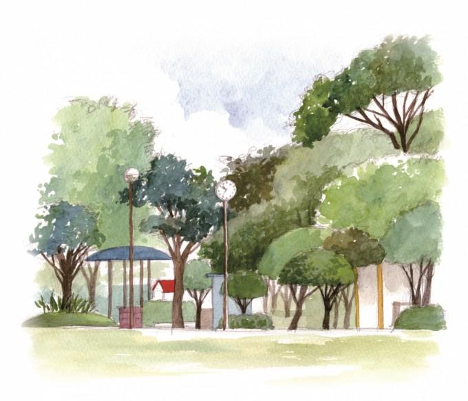 一本桜公園-水彩
