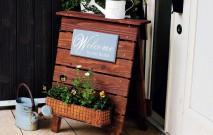 古い記事: 玄関先に植物のウェルカムボードを
