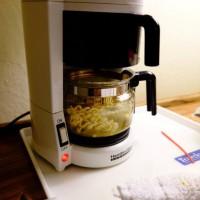 コーヒーメーカーでラーメン作り・・