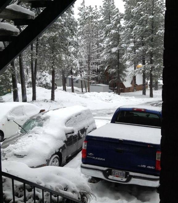 ホテルから見る雪