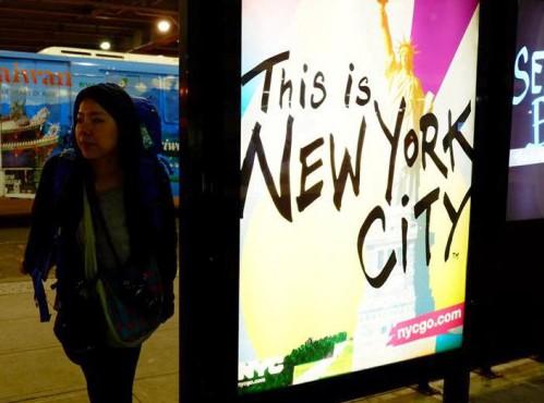 「ここはニューヨーク市だ」の看板