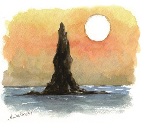 沖合の奇岩・立神岩イラスト