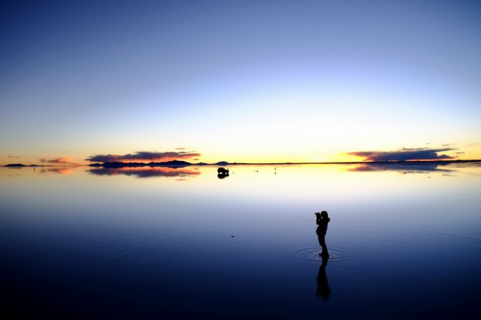 日が沈み始めると、さらにステキなウユニ塩湖