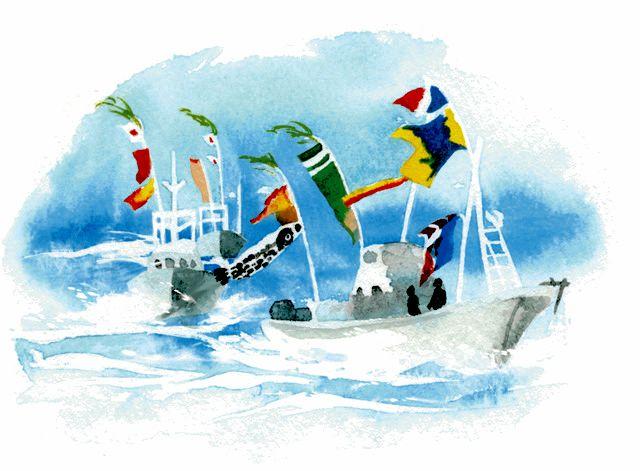 黒之浜の船団パレード