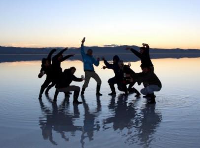 ウユニ塩湖でハピバ~