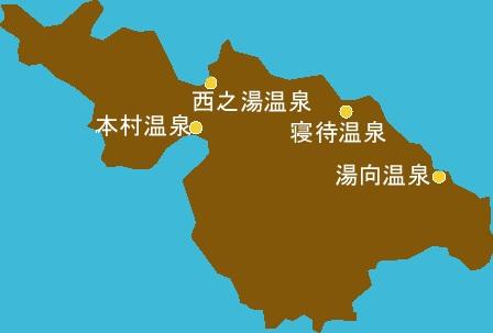 口永良部島に4カ所ある温泉地の位置関係