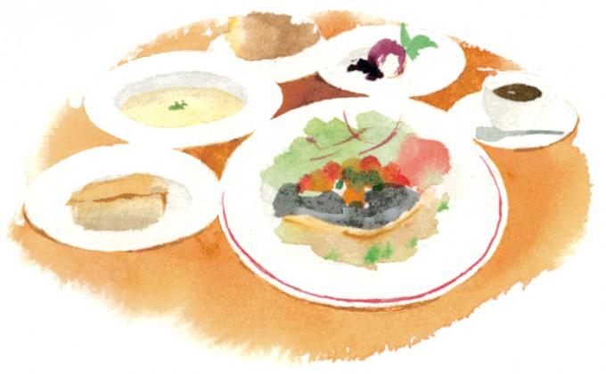 この日の「サービスランチ」は、新タマネギのキッシュ・冷製スープ・メジナのポワレ ラタトゥイユ添え・自家製バニラアイス&ブランマンジェ・コーヒーで1,360円