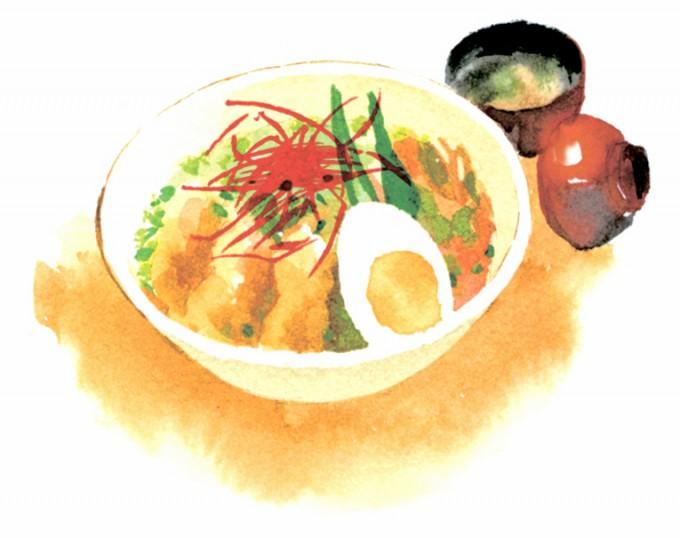 ランチは「日替わり丼」(汁わん付き)2種、夏季は1種が「ピリ辛冷麺」(ご飯か汁わん付き)で、いずれも580円