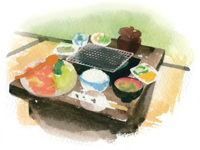 もも焼きセット(1,050円)。たっぷりの地鶏もも肉に、ごはん、みそ汁、小鉢、手作りこんにゃく、サラダ、漬物が付く