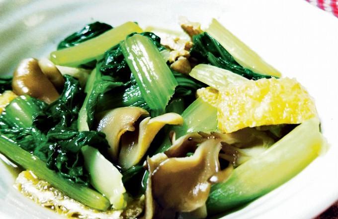 チンゲン菜とクイン茸の煮浸し