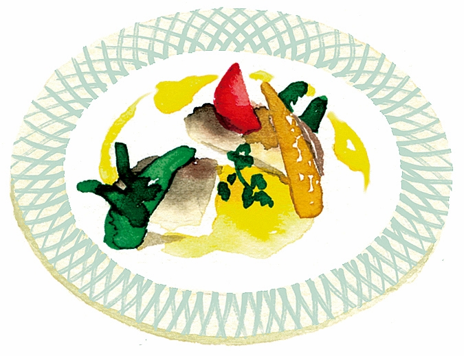 ハーフコースは、サラダ、スープ、魚か肉料理にデザート、紅茶が付く。見た目にも美しい料理は、フェイスブック等で紹介