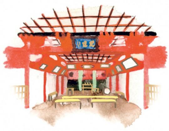社殿は拝殿、弊殿、祝詞殿、本殿からなり、日光東照宮などに見られる権現造りに似た構造になっている