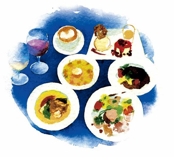 ランチコースは、8~9種の前菜盛り合わせ、リゾットorズッパ、メーン(肉or魚)、ドルチェ&ドリンク。手作りフォカッチャ付き