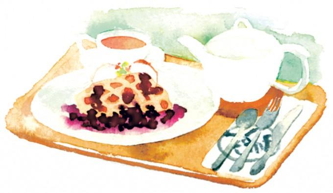 ワッフルセットは850円。チョコかブルーベリーの2種類から選べる