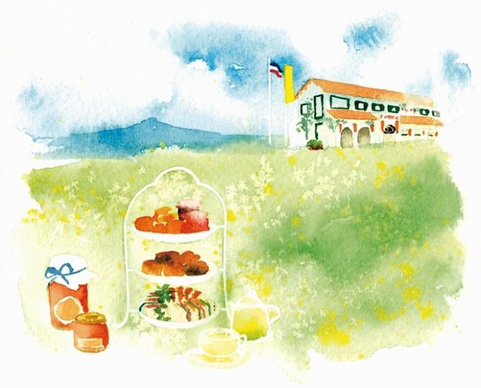 南風農菓舎デザートハウスとアフタヌーンティー。ハーブ、フルーツ、野菜のコンフィチュールはおみやげにイラスト:張 佐和子