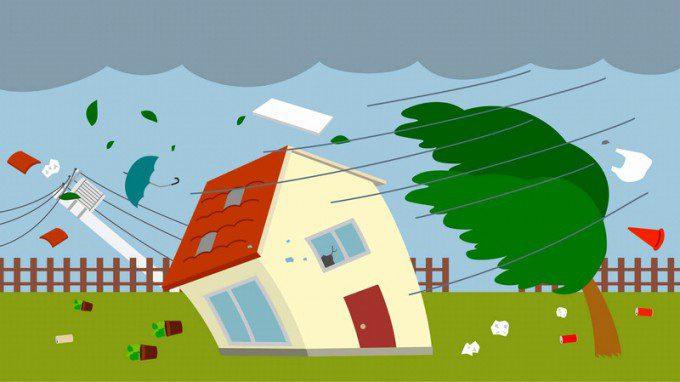 台風上陸イラスト