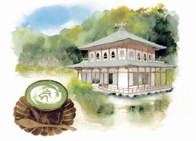 カフェ「サクラノヤカタ」と梵字カプチーノイラスト