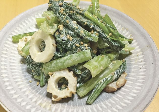 小松菜とちくわのゴママヨ和え