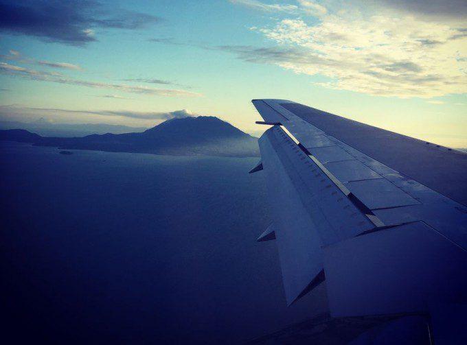 飛行機から見える桜島