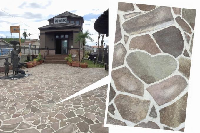 JR枕崎駅舎に続く通路で見つけたハート石