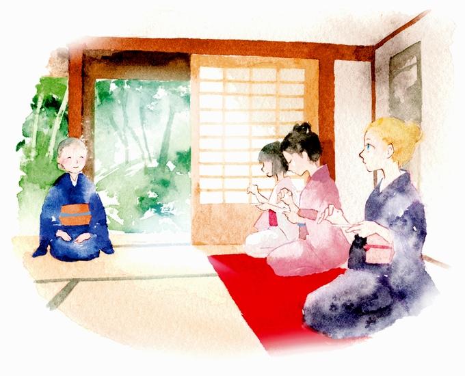 武家屋敷で茶道体験イラスト