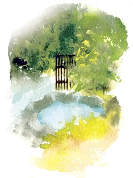 旅館「しび荘」露天風呂イラスト