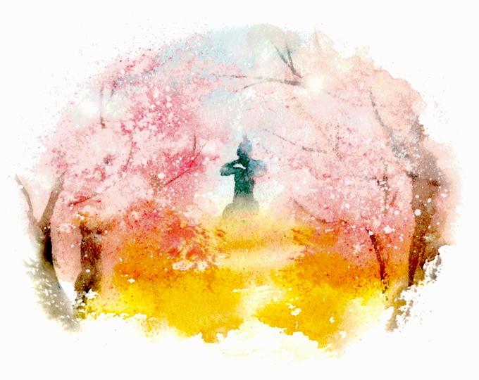 弥五郎像が立つ丘の周囲を彩る桜イラスト
