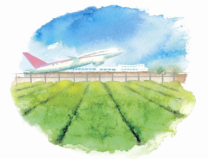 鹿児島空港から離陸イラスト