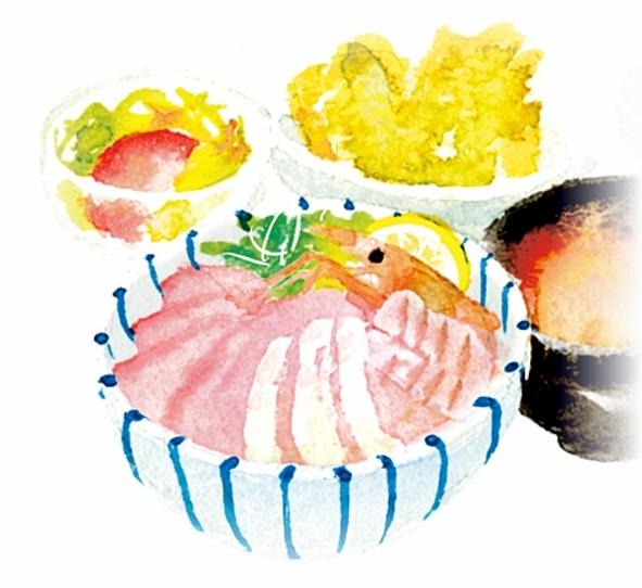 港屋たるみず海鮮丼イラスト