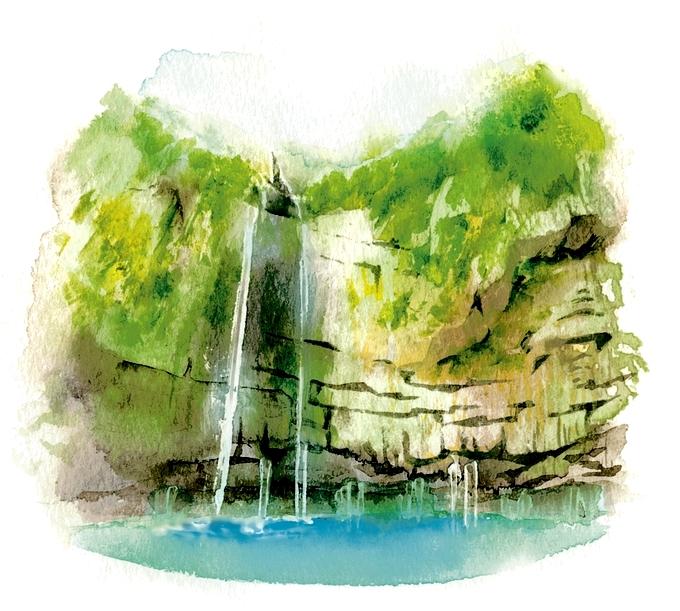 雄川の滝イラスト