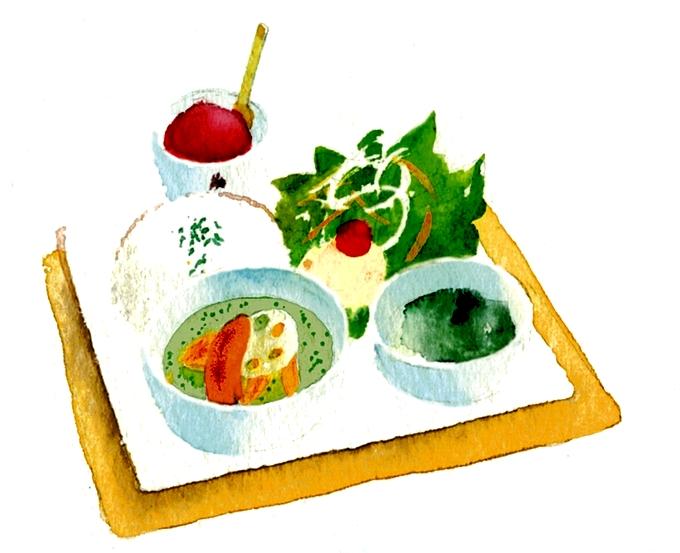 カフェテラスHANANOKI グリーンカレーイラスト