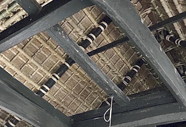 二階堂家住宅の屋根の骨組み