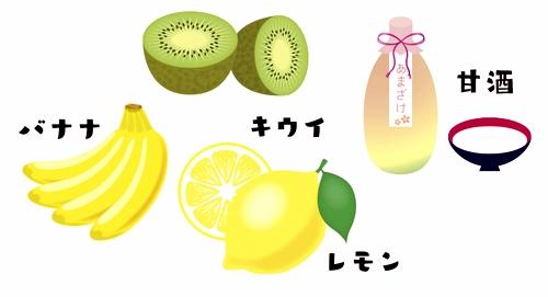 甘酒バナナ&キウイスムージー材料イラスト