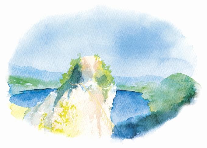 藺牟田池のパワースポット「竜石」イラスト