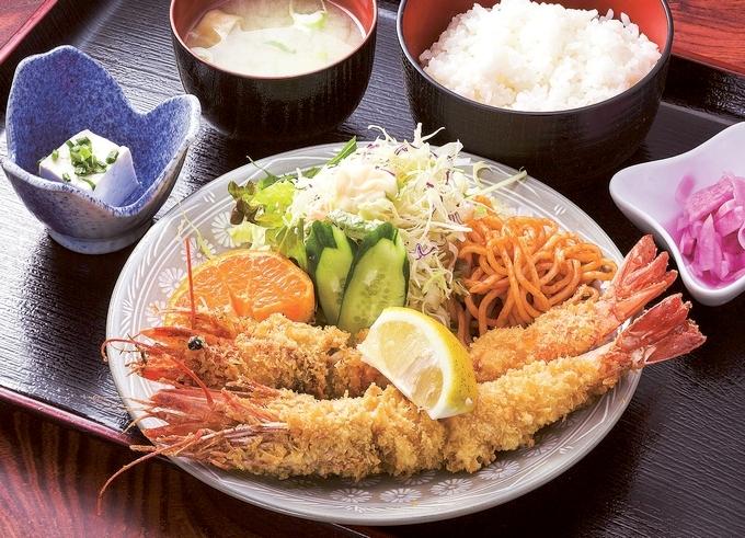 越路浜食堂(特大エビフライ定食)
