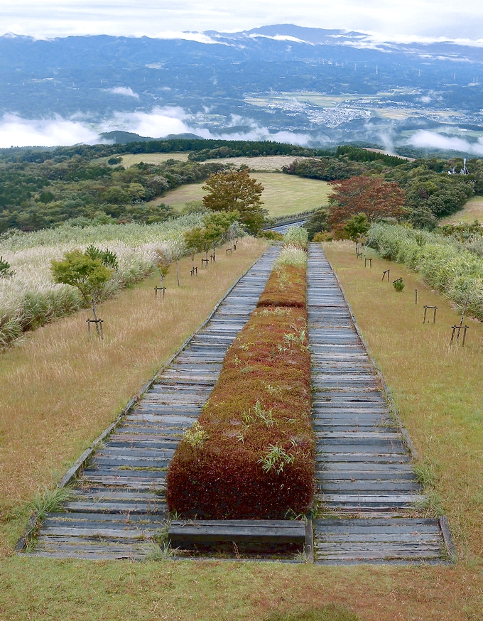 栗野岳レクリエーション村の枕木階段