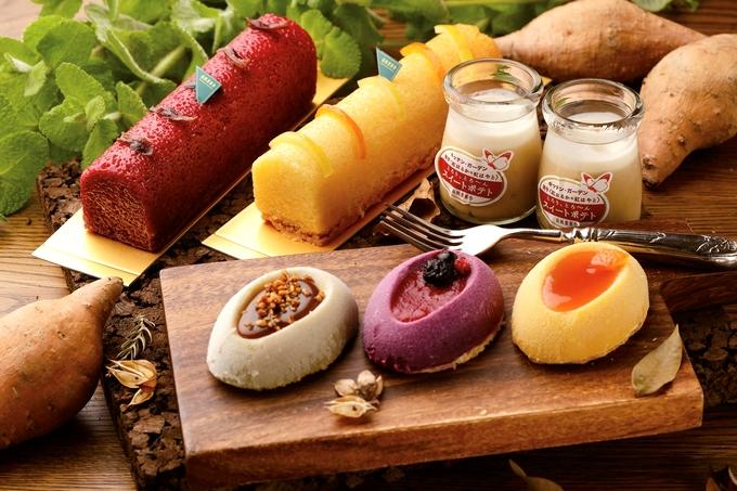 南風農菓舎デザートハウスのスイートポテト・アラモード(手前)など