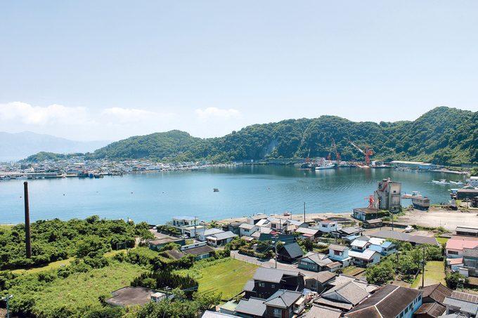 成川公園から望む山川港
