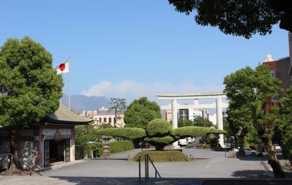 照国神社境内から望む桜島