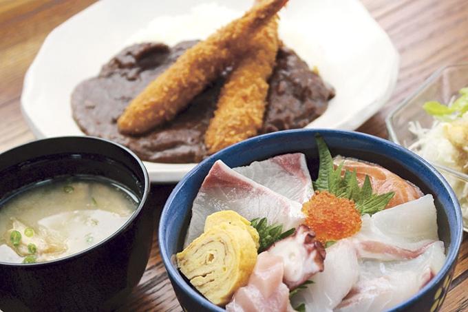 海鮮とカレーの店 木花家「海鮮丼とエビフライカレー」