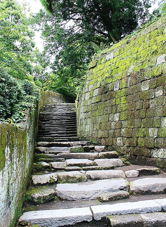 ドラマロケで使われた仙巌園内の石階段