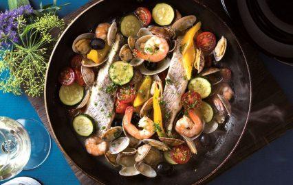 魚介と夏野菜のレモン風味煮込み