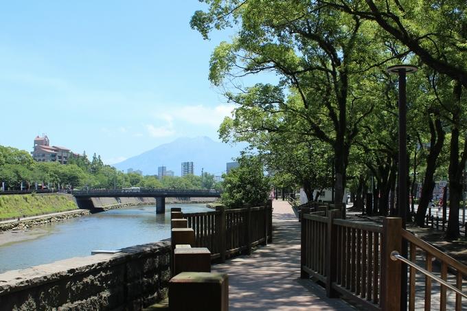甲突川沿いから望む桜島