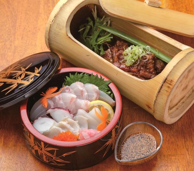 遊学リゾートきむきゅら「海鮮丼」と「豚なんこつ柔らか煮込み」