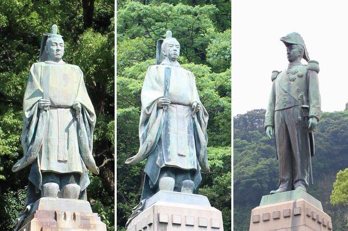 幕末の薩摩藩を動かした島津家3人の銅像